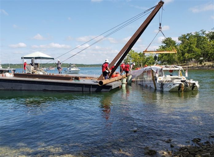 Sunken duck boat lifted