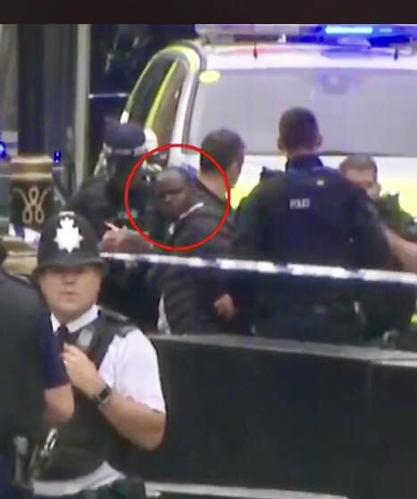 Man arrested outside Houses of Parliament in London.