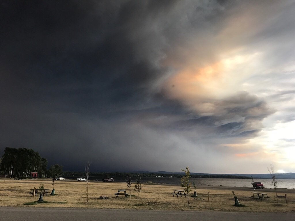 Ash and smoke caused by BC wildfires near Fort St. James
