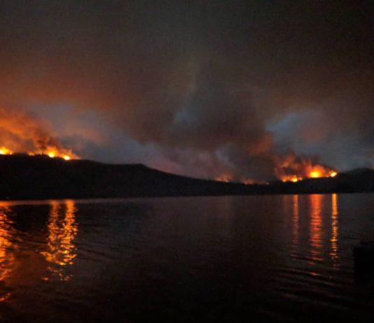 Shovel Lake fire seen from south of Burns Lake