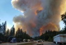 Flames and smoke on I-5