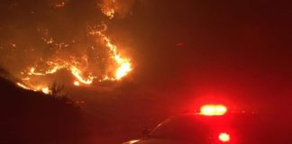 CHP photo of I-5 fire
