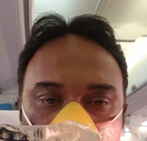 Satish Nayer bleeding on Jet Airways