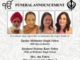 Vohra family of Kenya funeral scheduled.